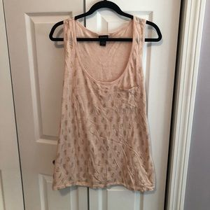 Torrid Size 3 Peach Tank w/ Gold Pineapples